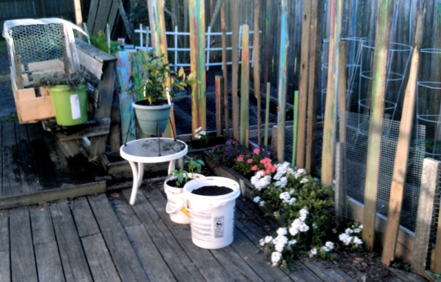 Wanted to give the garden a beachy feel, so we painted the posts with drip paint!
